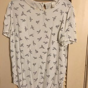 H&M blouse with bird print size 8